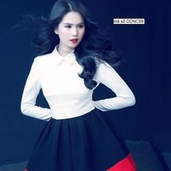 Đầm xòe tay dài thiết kế phối màu sang trọng như Ngọc Trinh DDNC89