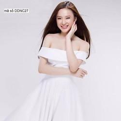 Đầm trễ vai xòe váy xếp ly trắng đẹp tinh khôi eDDNC27