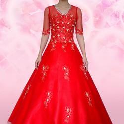 áo cưới màu đỏ tay lở