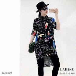 HÀNG NHẬP CAO CẤP - Đầm suông sơ mi họa tiết
