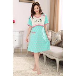 Đầm bà bầu ngắn tay kiểu dáng mèo chấm bi nữ tính trẻ trung-D3061