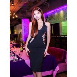 Đầm body cổ tim thiết kế khoét eo sành điệu xinh đẹp DOV775