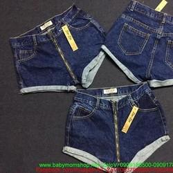 Quần jean short nữ xắn lai kéo khóa sành điệu QSO110