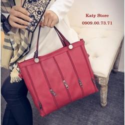 Túi xách dây kéo Hàn Quốc màu đỏ đô - Hàng nhập - Y hình
