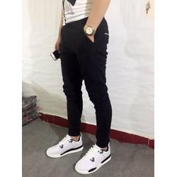 Quần jeans ống côn skinny đen nam