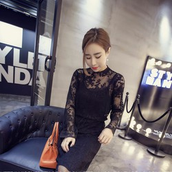 Đầm nữ dài tay thời trang, phối ren điệu đà xinh xắn, kiểu dáng Hàn.
