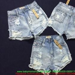 Quần jean short nữ lưng cao xước rách sành điệu QSO105