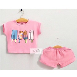 Bộ áo croptop hình que kem phối quần short thun NX314