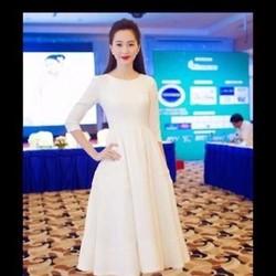 Đầm xỏe trắng dài tay đơn giản xinh như Thu thảo DXV25