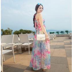 Đầm maxi cúp ngực hoa sắc màu