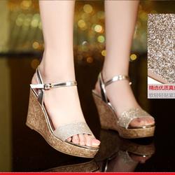 HÀNG CAO CẤP - Giày sandal đế xuồng ánh kim