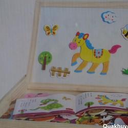 Bảng ghép hình bằng gỗ gắn nam châm các con vật