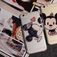 BỘ 2 ỐP LƯNG ĐÔI DẺO TRONG HÌNH Mickey và Minnie CHO iPhone 6