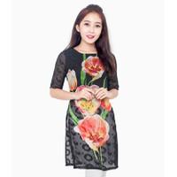 Áo dài cách Tân nền đen hoa Tulip -MS0014AD