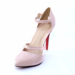 Giày cao gót mũi nhọn xi bóng hồng môn