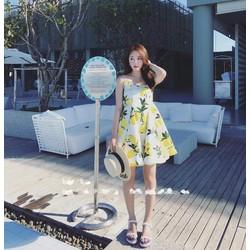 [Hàng nhập] Đầm 2 dây in hoa vàng ngọt ngào