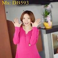Đầm bầu hàn quốc dài tay công sở phối bèo thời trang DB593
