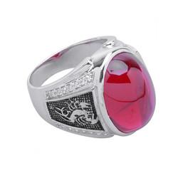 Nhẫn nam bạc gắn đá topaz đỏ