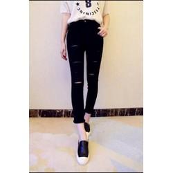 Quần Jeans Nữ Đen Rách Cá Tính