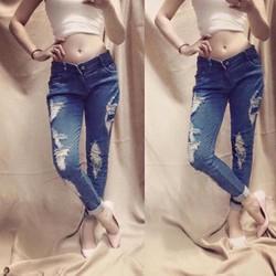 Quần Jeans Nữ Wash Rách