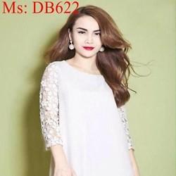 Đầm bầu công sở dài tay phối ren sang trọng xinh đẹp DB622