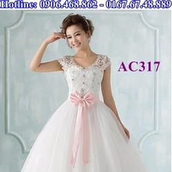 Áo cưới ren đính nơ AC317
