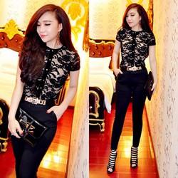 Set bộ áo ren đen quần tregging đen pha sườn giống bella - SET621