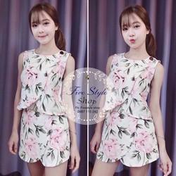 Set áo quần giả váy hoa hàng nhập: MS: QAH9524