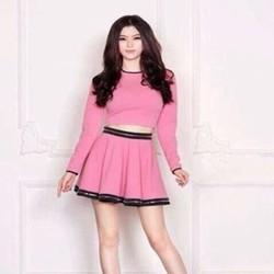 Sét áo dài tay và chân váy xòe phối viền đen SEV203