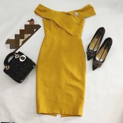 Đầm body bẹt vai kèm tag