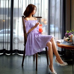 Đầm dạ hội trễ vai tay phồng xòe ngắn SD608