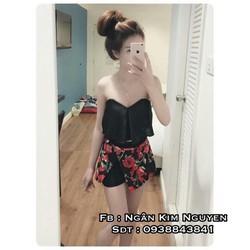 Set áo cúp bèo + quần váy đắp hoa