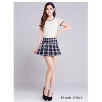 Chân váy kẻ caro đẹp Hàn Quốc CV613
