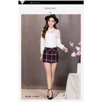Chân váy kẻ caro 6 cúc đẹp Hàn Quốc CV615