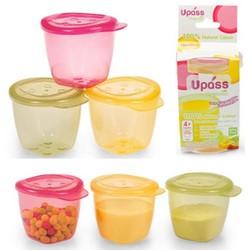 Set 3 hộp có nắp đựng thức ăn dặm cho bé UPASS hữu cơ- Thái Lan