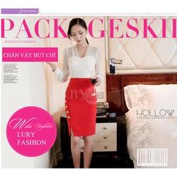 Chân váy bút chì màu đỏ khuy hông cao cấp Hàn Quốc CV951