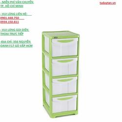 Tủ nhựa duy tân lớn 4 ngăn xanh lá