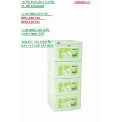 Tủ nhựa Duy Tân Tano 4 ngăn xanh lá