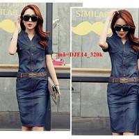 Đầm jean công sở ngắn tay phối túi sang trọng DJE14