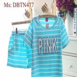 Đồ mặc nhà nữ short hình pink sọc màu ngang dễ đẹp DBTN477