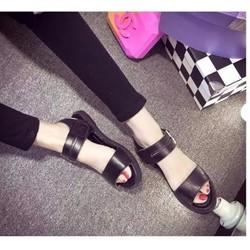 Giày sandal bệt quai ngang 2 dây khóa