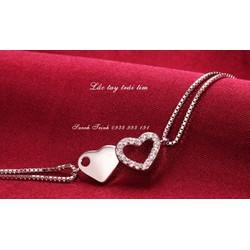 lắc tay bạc 925 trái tim đôi