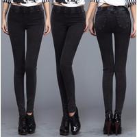 Quần skinny jean loang lưng thun trơn-Q274