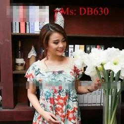 Đầm bầu hàn quốc họa tiết hoa nổi bật viền ren sành điệu DB630