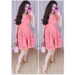 Đầm xòe ren cao cấp màu hồng  giá khuyến mãi HM155