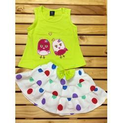 Bộ ba lỗ kèm váy quần xinh xắn cho bé gái MSP B028