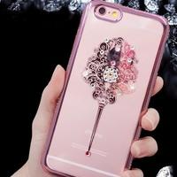 Ốp lưng Iphone 5, 5S hoa văn thổ cẩm viền đính đá cho