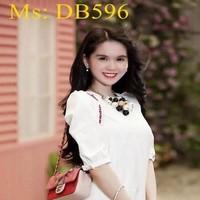 Đầm bầu công sở ngắn tay đính nơ xinh đẹp duyên dáng DB596