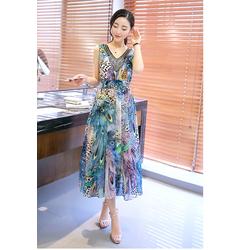 Đầm maxi Hongkong cổ kết cườm cao cấp - MH10533-S410