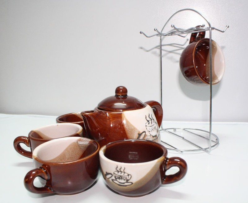 Image result for bộ chén trà kèm giá treo